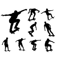 Skateboarders silhouettes vector