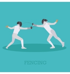 Sport fencing athletes isolated icons Silhouette vector image vector image