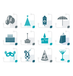 Stylized party and holidays icons vector