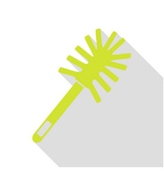 Toilet brush doodle pear icon with flat style vector