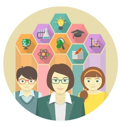 Woman teacher and pupils with colored hexagons vector image vector image