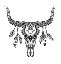 Bull skull with feathers hand drawn sketch native vector