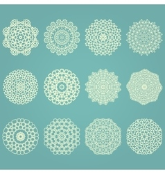 Snowflake winter geometric vintage set vector