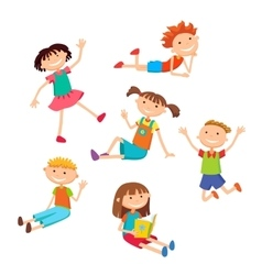 Collection of happy children in different vector