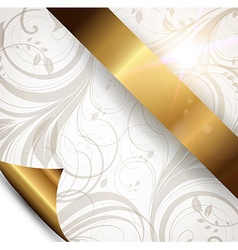 Seamless Floral Wallpaper with Gold Ribbon vector image