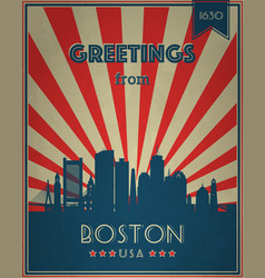 Vintage touristic greeting card boston vector