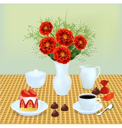 Bouquet of chocolates and coffee vector