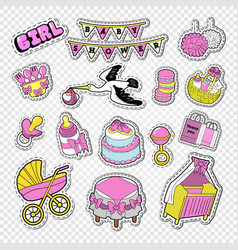 Baby shower decoration set with girl toys vector