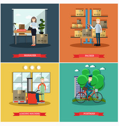 Set of mail delivery posters in flat style vector