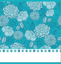 Pompom border trim on blue flowers seamless vector