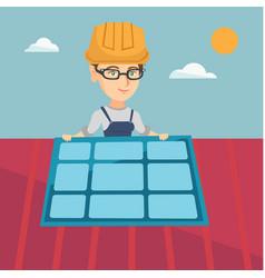 Young caucasian constructor installing solar panel vector