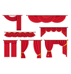 Scarlet pompous curtains collection on white vector