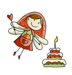 cute little fairy with cake sketch for your vector image