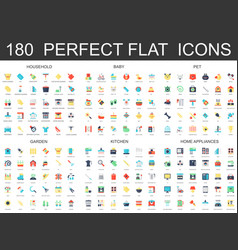 180 modern flat icons set of household baby pet vector image