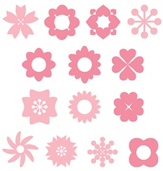 Silhouette pink flowers vector