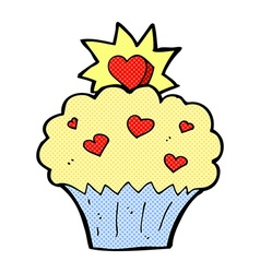 Comic cartoon love heart cupcake vector