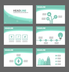 Green wave presentation templates infographic set vector