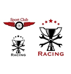 Racing and motorsport symbols or icons vector