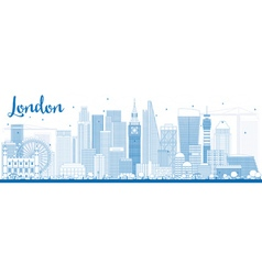 Outline London Skyline with Blue Buildings vector image