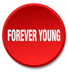 Forever young red round flat isolated push button vector