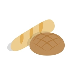Rye bread and loaf icon isometric 3d style vector