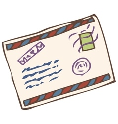 Closed envelope with post stamp vector