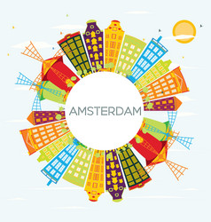 Amsterdam skyline with color buildings blue sky vector