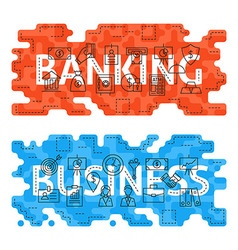 Banking Business Outline Flat Concept vector image