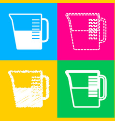 beaker sign four styles of icon on four color vector image