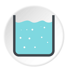 Beaker with pure blue water icon circle vector