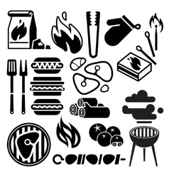 Black barbecue food flyer bbq icons vector