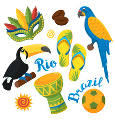 Brazilian festival in sao paulo flat icons set vector