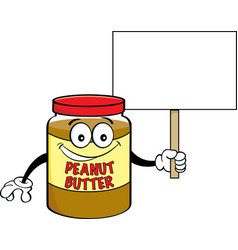 Cartoon jar of peanut butter holding a sign vector