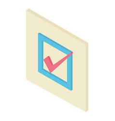 check mark icon isometric 3d style vector image