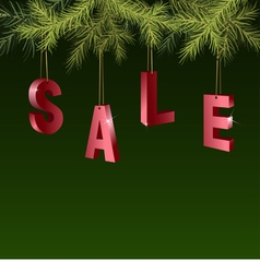 Christmas sale red tags over green background vector image vector image