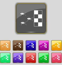 Cockroach races icon sign set with eleven colored vector