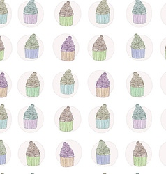 Cup cake seamless pattern vector image