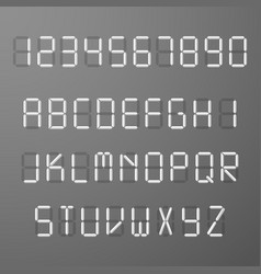 Digital 3d display time numbers and letters vector