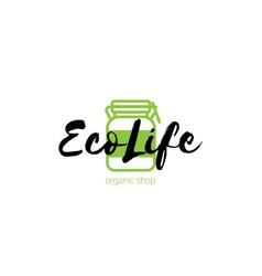 Eco shop logo with green jar vector