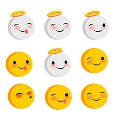 Emotional positive faces angel smiles set vector