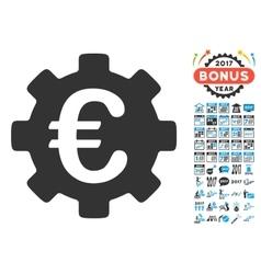 Euro development gear icon with 2017 year bonus vector