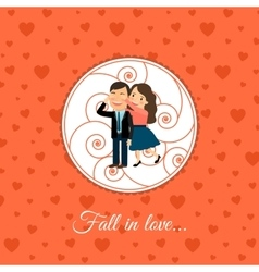 Fall in love couple card template vector