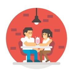 Flat design couple sharing milkshake vector