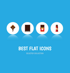 Flat icon sweet set of chocolate bar delicious vector