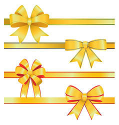 gold christmas bows on white background vector image vector image