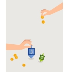 hanukkah game hand spining dreidel and holding vector image