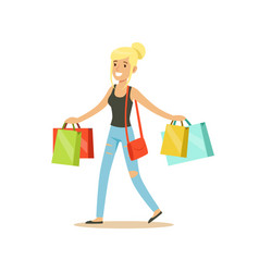 Happy blonde woman in a casual clothes walking vector