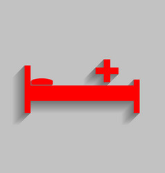Hospital sign red icon with vector