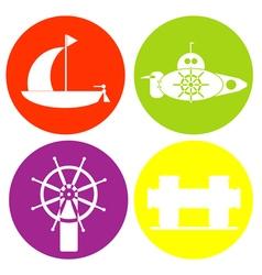 monochrome icon set with sea transport vector image
