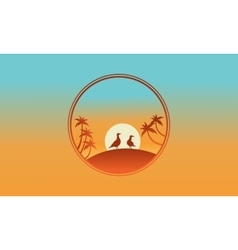 On the hill bird and palm of silhouette vector image vector image